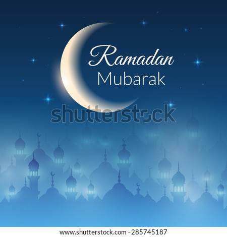 Night landscape wallpaper with mosques and lights, moon, stars. Vector background for holy month of muslim community Ramadan Kareem celebration - stock vector
