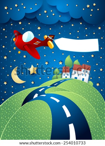 Night landscape with airplane, banner and hilly road. Vector eps10 - stock vector
