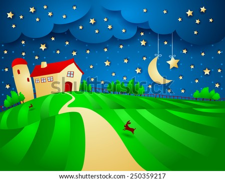 Night landscape with farm and starry sky, vector  - stock vector