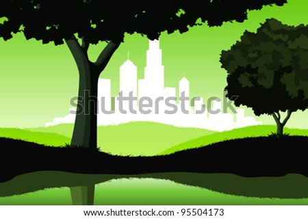 Night Landscape with lake trees and city silhouette in green color - stock vector