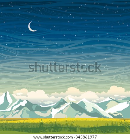 Night landscape with mountains and green grass on a starry sky background. Summer vector illustration.  - stock vector