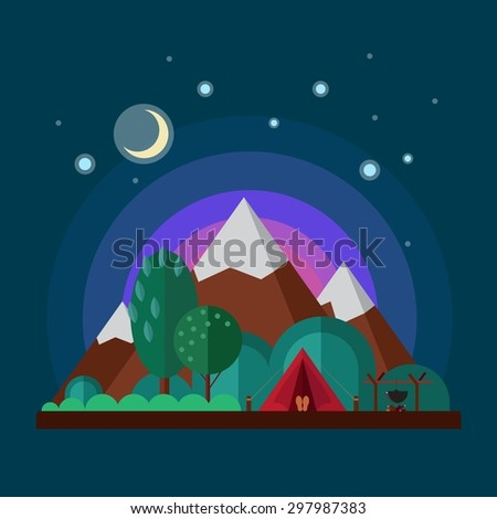 Night landscape with mountains. Camping tent. Vector flat illustration. - stock vector
