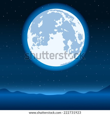 Night landscape with the blue full moon on starry sky - stock vector