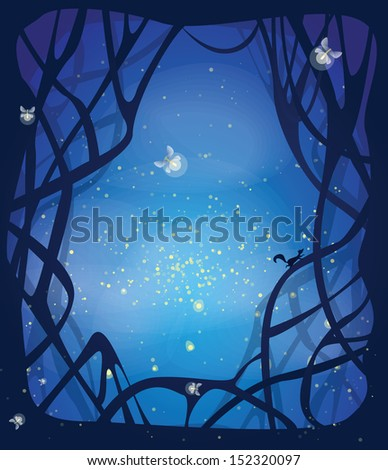 Night magic scene with fireflies and running squirrel. Place for your message in the middle. EPS10 - stock vector