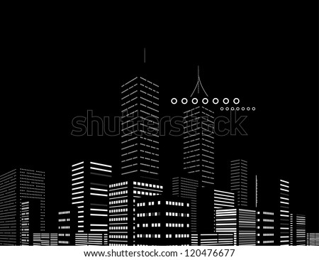 Night modern city vector abstract background - stock vector