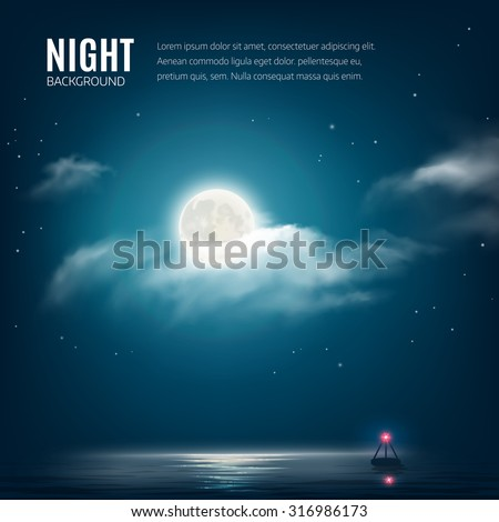 Night nature background, cloudy sky with stars, moon and calm sea with beacon. Vector illustration - stock vector