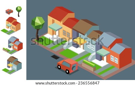 Night Neighbourhood isometric vector illustration - stock vector