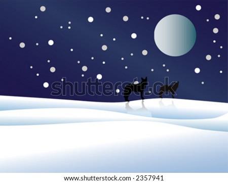 night, new year, year, wolf - stock vector