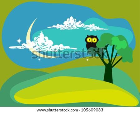 Night Owl - stock vector