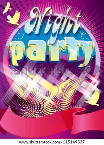 Night Party design template with place for text. - stock vector