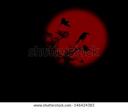 Night raven on a tree with red full moon, vector illustration - stock vector