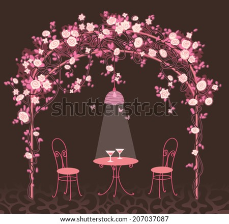 Night romantic background. Garden house with climbing roses, table and chairs. Floral vector illustration. - stock vector