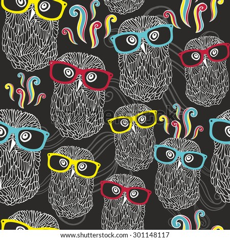Night seamless pattern with disco owls in sunglasses. Vector party texture. - stock vector