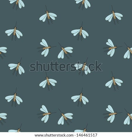 night seamless pattern with mosquitoes - stock vector