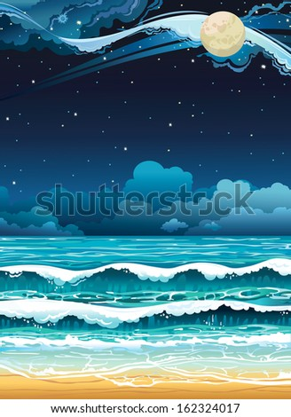 Night seascape with full moon and starry sky. - stock vector