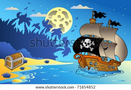 Night seascape with pirate ship 1 - vector illustration. - stock vector