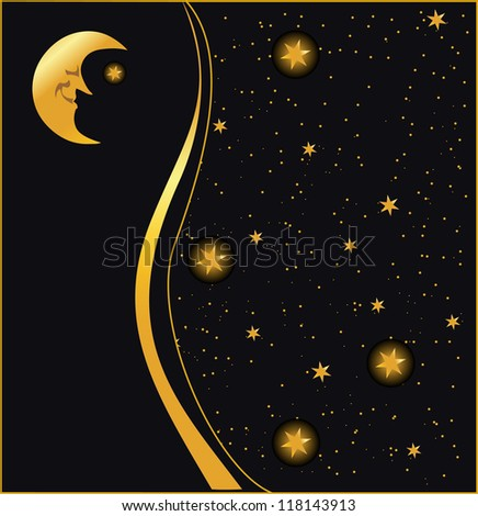 night sky background, vector - stock vector