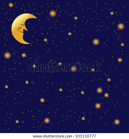 night sky background  with stars, vector - stock vector