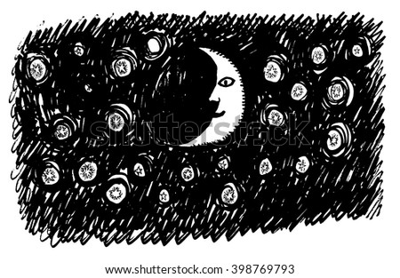 Night sky hand draw vector illustration of crescent and stars. Doodle style. Isolated - stock vector