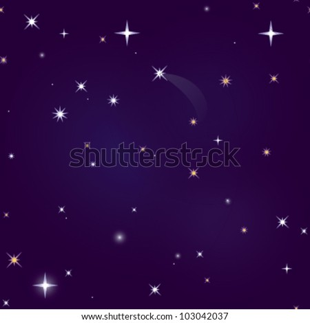 Night Sky Repeating Background - stock vector