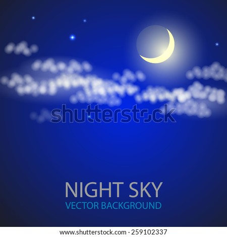 Night sky with moon and clouds. Vector illustration. - stock vector