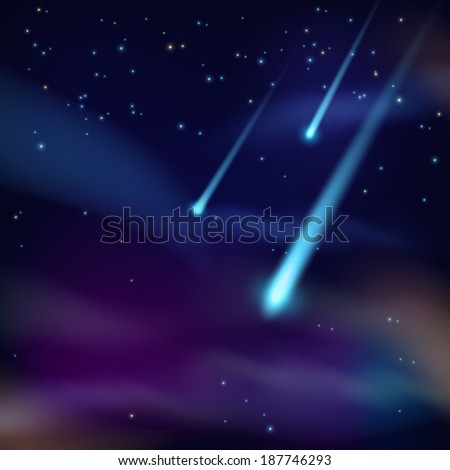 Night sky with twinkling stars and flying comets on dark background vector illustration  - stock vector