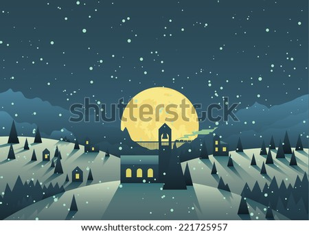 Night snowfall in a cute little mountain village. Full moon in the dark sky dropping long shadows from the trees and houses. Nice vector illustration for a Christmas greeting. - stock vector