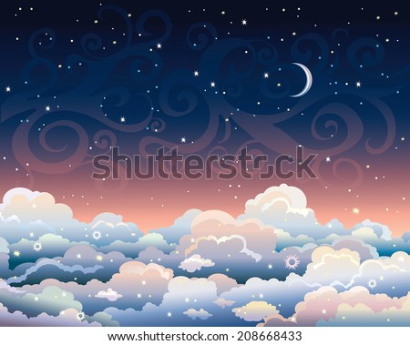 Night starry sky with cumulus clouds and blue moon. Nature vector skyscape.  - stock vector