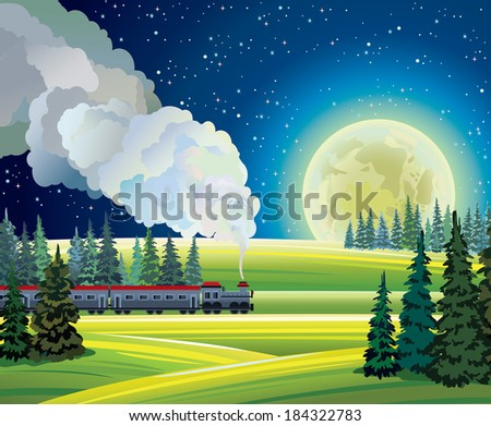 Night summer landscape with train and full moon on a starry sky - stock vector