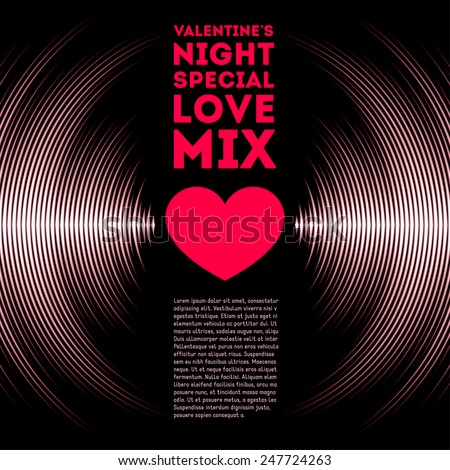 Night themed Valentine's Day card with vinyl tracks and red heart - stock vector