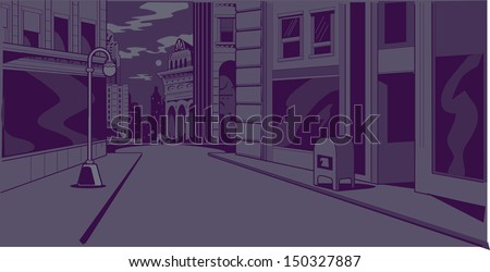 Night time generic city street scene for comics and animation - stock vector
