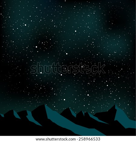 Night time sky, stars, mountain landscape.  Vector illustration. - stock vector
