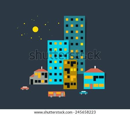 Night town street silhouette. Flat design. Vector. - stock vector