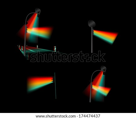 night traffic light - stock vector