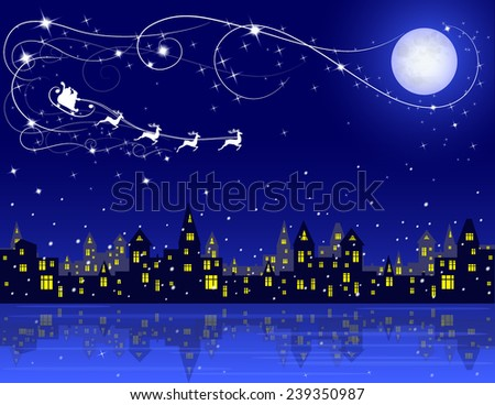 night winter town, moon and santa on his rein deers on blue dark sky, vector illustration - stock vector