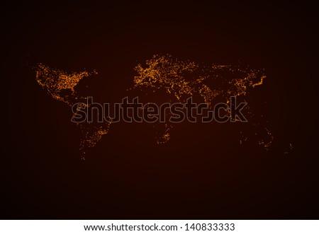 Night World map EPS10 vector, easy all editable - stock vector