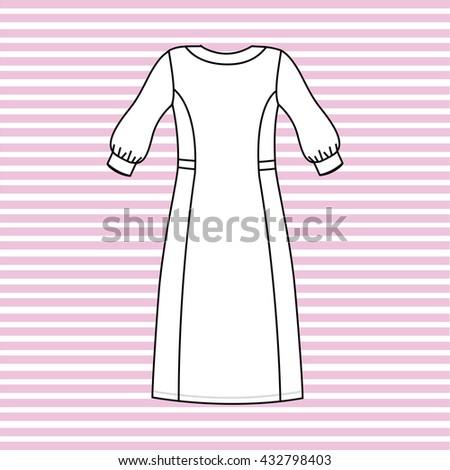 nightgown women painted in the vector. nightie. - stock vector