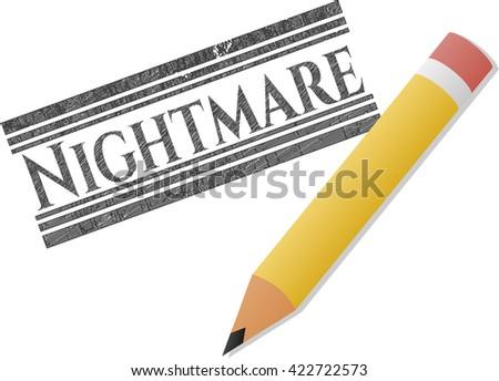 Nightmare drawn in pencil - stock vector