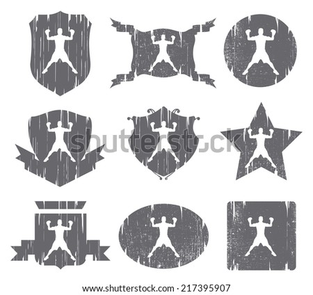 nine boxing vintage shields - stock vector