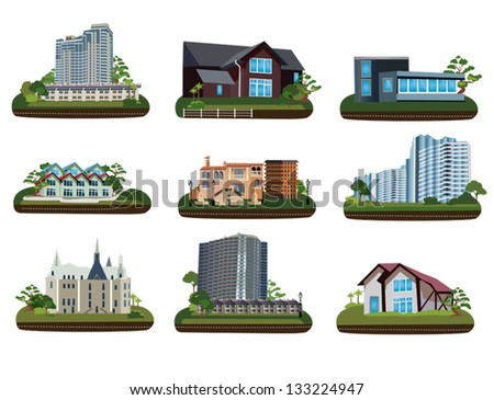 Nine buildings on transparent background - stock vector