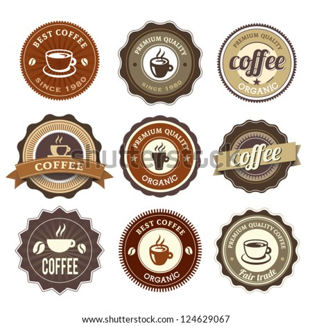 Nine Coffee Badges For Web Or Print - stock vector