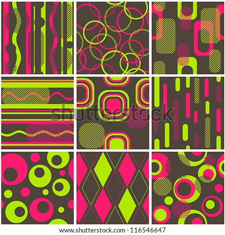 Nine color seamless retro wallpapers - stock vector