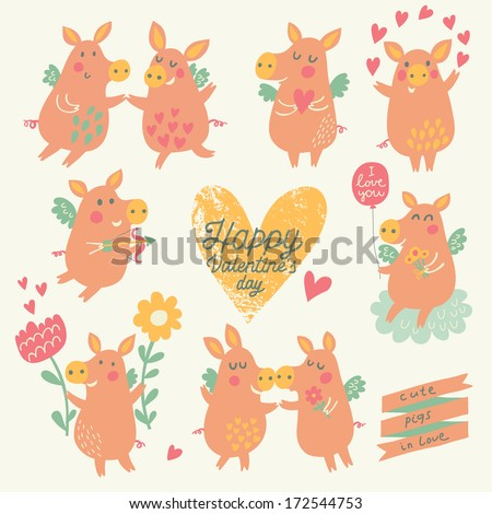 Nine cute pigs angels with hearts, balloon, flowers in cartoon style. Funny Valentines day set in vector. Childish concept illustration  - stock vector