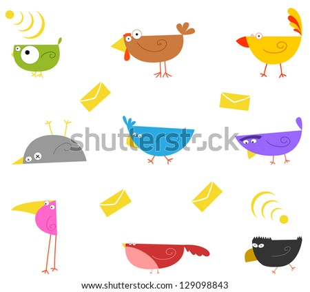 Nine different birds. Without gradients. Vector illustration. - stock vector