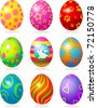Nine fine painted eggs designed for Easter - stock vector