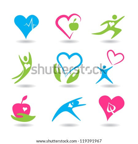Nine icons symbolizing healthy hearts. - stock vector