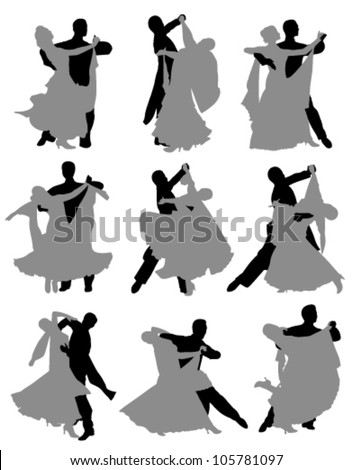 nine pairs of ballroom dancers dancing on a white background - stock vector