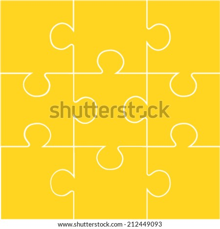 Nine pieces of orange jigsaw vector puzzle - stock vector