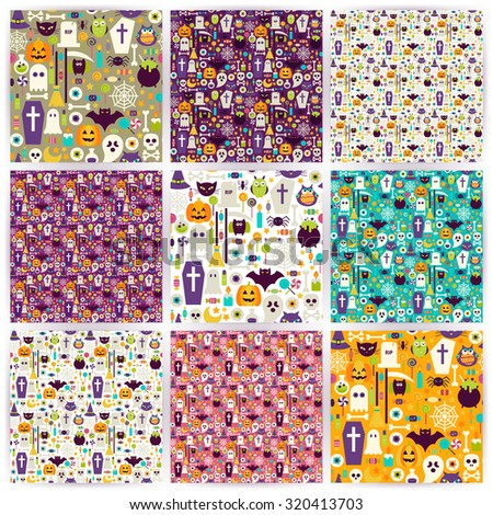 Nine Seamless Halloween Party Patterns Collection. Flat Style Vector Seamless Texture Backgrounds. Collection of Halloween Holiday Templates. Trick or Treat - stock vector