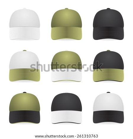 Nine two-color caps with white, khaki and black colors. Isolated on white. Vector EPS10 illustration.  - stock vector